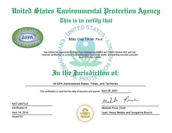 Mr Fix It Epa Lead Certificate